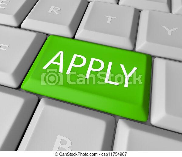 πληκτρολόγιο , αίτηση , ηλεκτρονικός εγκέφαλος απάντηση , online , κάνω αίτηση  - csp11754967