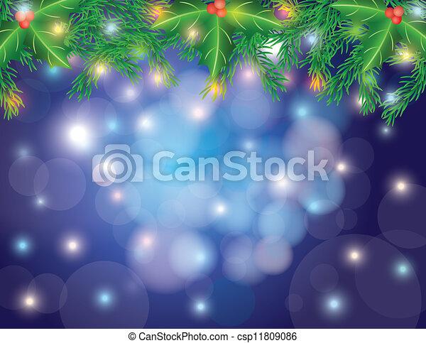 πνεύμονες ζώων , bokeh, δέντρο , xριστούγεννα , γιρλάντα  - csp11809086