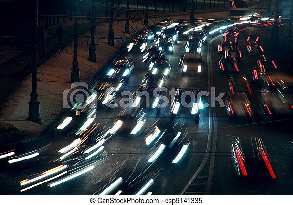 πολοί , άμαξα αυτοκίνητο , πνεύμονες ζώων , συγκινητικός , winter;, νύκτα , κυκλοφορία  - csp9141335