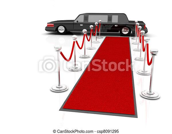 πολύ σημαντικό πρόσωπο , limousine., εικόνα , αναμονή , αρχηγία , χαλί υποδοχής  - csp8091295