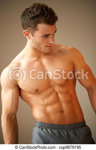 πορτραίτο , άντραs , νέος , σπουδαίος , ωραία , σωματική διάπλαση  - csp9879195