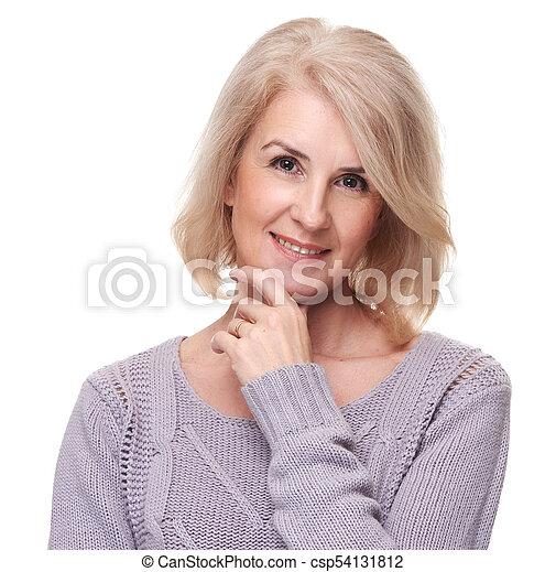 πορτραίτο , γυναίκα , ηλικιωμένος , ευτυχισμένος  - csp54131812