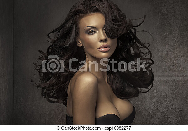 πορτραίτο , καταπληκτικός , αισθησιακός , γυναίκα  - csp16982277