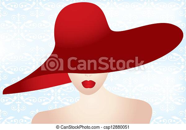 πορτραίτο , κυρία , αριστερός καπέλο  - csp12880051