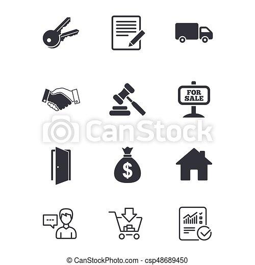 πραγματικός , χειραψία , δημοπρασία , κτήμα , icons., sale. - csp48689450