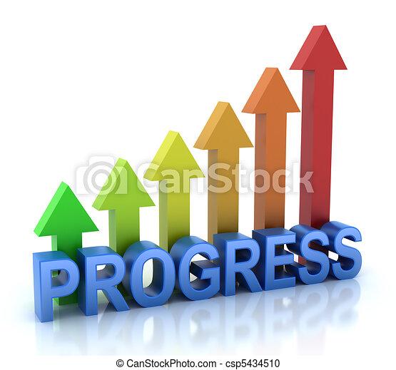 πρόοδοσ, εξέλιξη , γενική ιδέα , γραφικός , γραφική παράσταση  - csp5434510