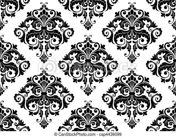 πρότυπο , seamless, δαμασκηνό ύφασμα  - csp4436099