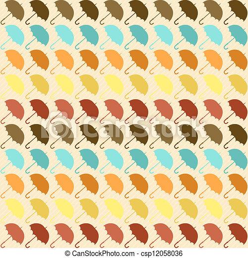 πρότυπο , style., seamless, ομπρέλες , retro  - csp12058036