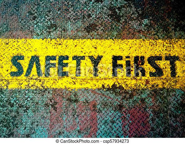 πρώτα , ασφάλεια , retro , σήμα  - csp57934273