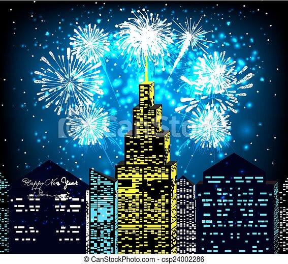 πόλη , πυροτέχνημα , ευτυχισμένο το νέο έτος  - csp24002286