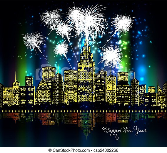 πόλη , πυροτέχνημα , ευτυχισμένο το νέο έτος  - csp24002266