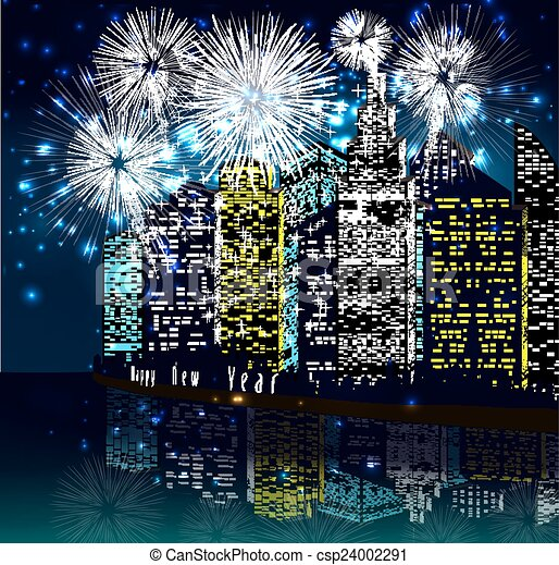 πόλη , πυροτέχνημα , ευτυχισμένο το νέο έτος  - csp24002291