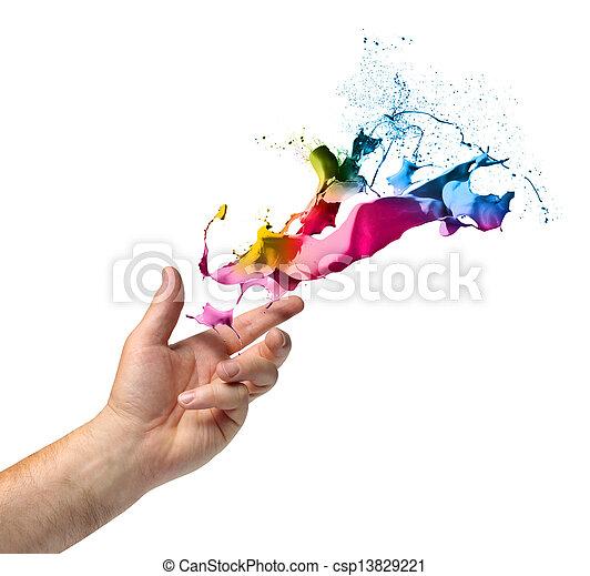 ρίψη , βάφω , γενική ιδέα , δημιουργικότητα , χέρι  - csp13829221