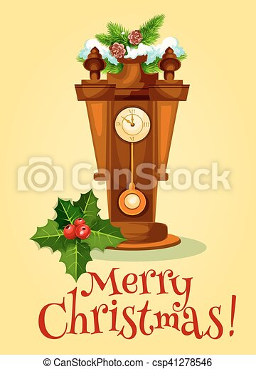ρολόι , δέντρο , χαιρετισμός , πεύκο , έτος , καινούργιος , κάρτα  - csp41278546