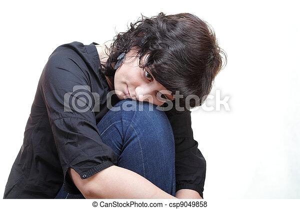 σκεπτόμενος , θλίψη , γυναίκα , απομονωμένος  - csp9049858