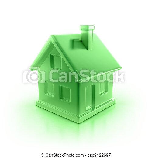 σπίτι , πράσινο , εικόνα  - csp9422697