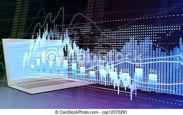 στατιστική , επιχείρηση , laptop , analytics, μέλλον , graphics , trading., τεχνολογία , στοκ  - csp12370291