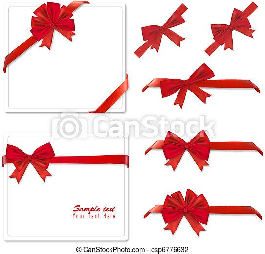 συλλογή , κόκκινο , bows., vector. - csp6776632