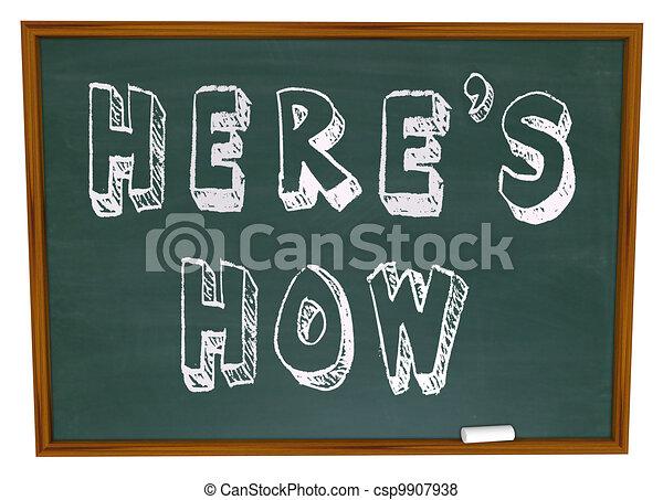 συμβουλή , πόσο , chalkboard , λόγια , here's, οδηγίεs  - csp9907938