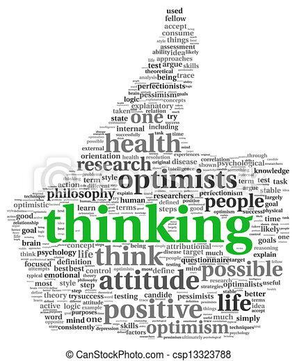 σύνεφο , ετικέτα , σκεπτόμενος , θετικός , γενική ιδέα  - csp13323788