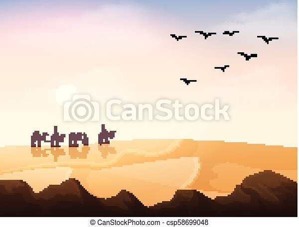 σύνολο , άνθρωποι , καραβάνι , άραβας , καμήλες , ιππασία , εγκαταλείπω  - csp58699048