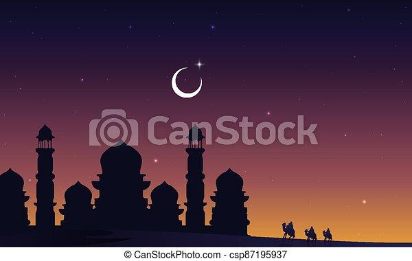 ταξιδιώτες , άραβας , καμήλες , εγκαταλείπω , τζαμί , περίγραμμα  - csp87195937