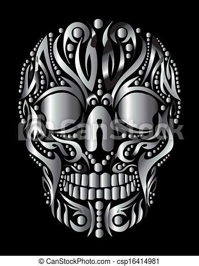 τατουάζ , φυλετικός , μικροβιοφορέας , τέχνη , κρανίο  - csp16414981