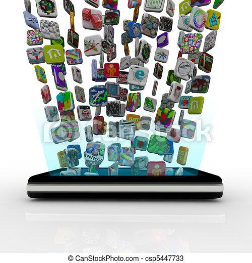 τηλέφωνο , app , downloading , κομψός , απεικόνιση  - csp5447733