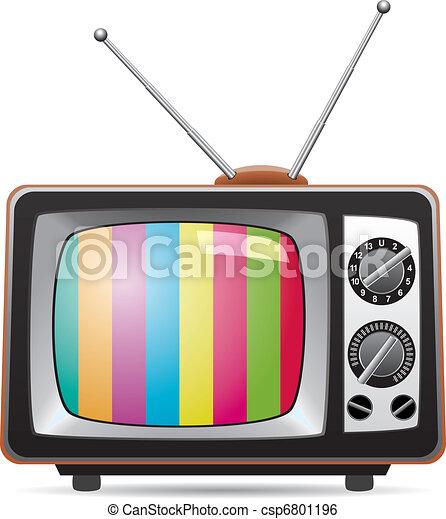τηλεόραση , retro , εικόνα , θέτω , μικροβιοφορέας  - csp6801196