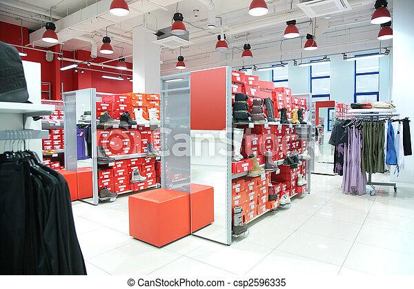 τμήμα , ρουχισμόs , εξωτερικός , foot-wear, κατάστημα  - csp2596335