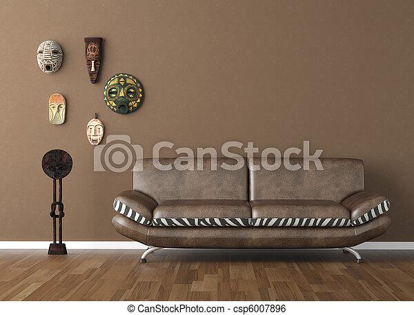 τοίχοs , καφέ , φυλετικός , αποκρύπτω , καναπέs  - csp6007896