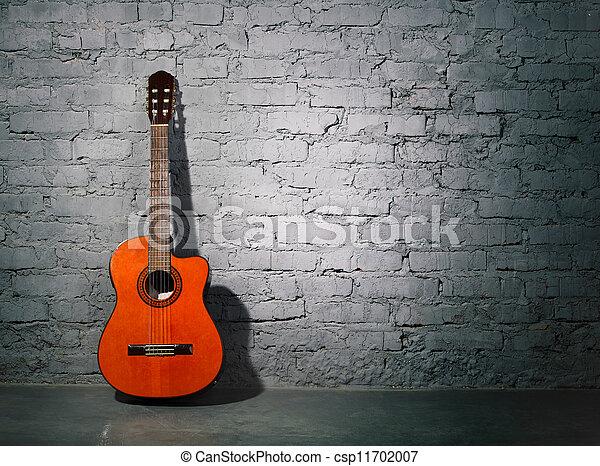 τοίχοs , κιθάρα , ακουστικός , grungy , κλίση  - csp11702007
