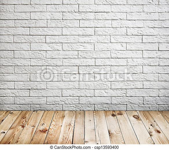 τούβλο , εσωτερικός , φόντο , ξύλο , τοίχοs , πάτωμα , δωμάτιο , άσπρο  - csp13593400