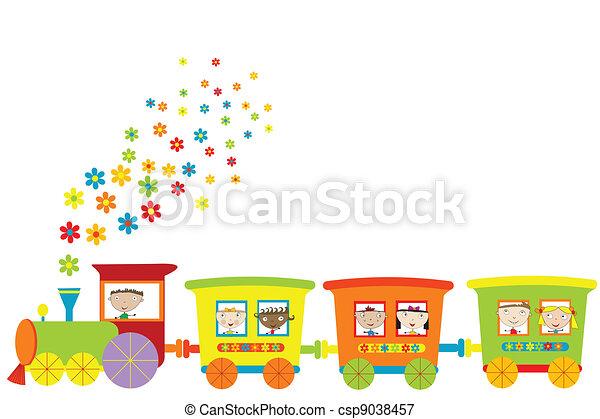 τρένο , παιδιά , ευτυχισμένος  - csp9038457