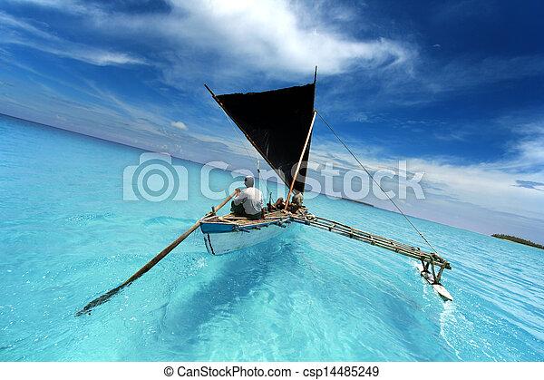 τροπικός , βάρκα , κωπηλασία , λιμνοθάλασσα , απόπλους  - csp14485249