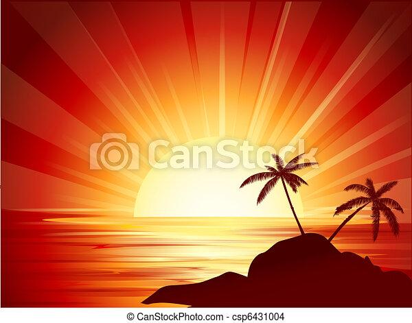 τροπικός , ηλιοβασίλεμα  - csp6431004