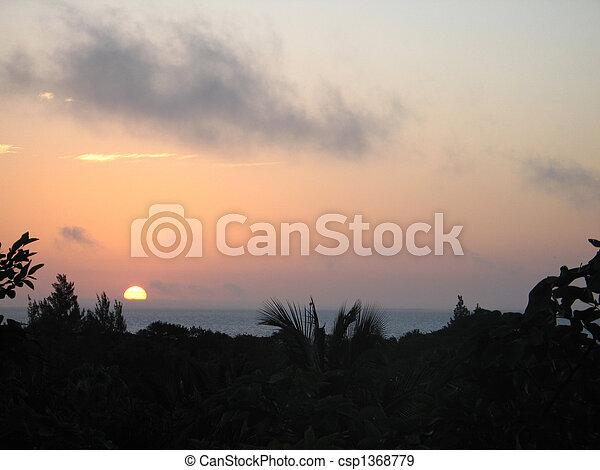 τροπικός , θαλασσογραφία , ηλιοβασίλεμα  - csp1368779