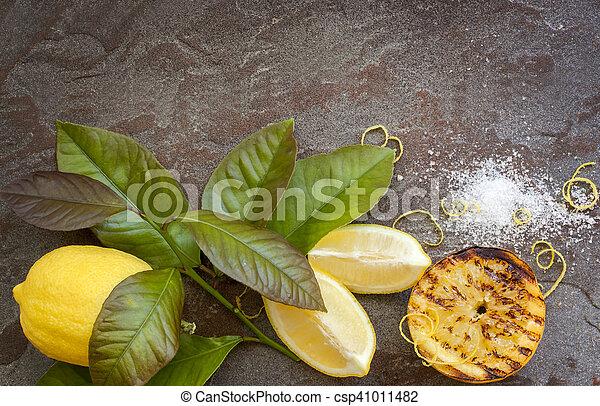 τροφή , λεμόνι , φόντο  - csp41011482