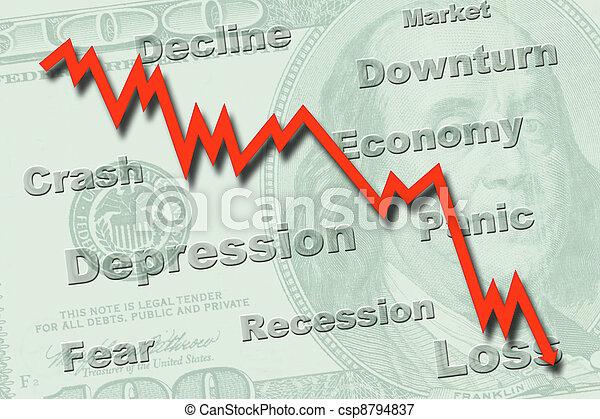 υποχώρηση , γενική ιδέα , οικονομία  - csp8794837