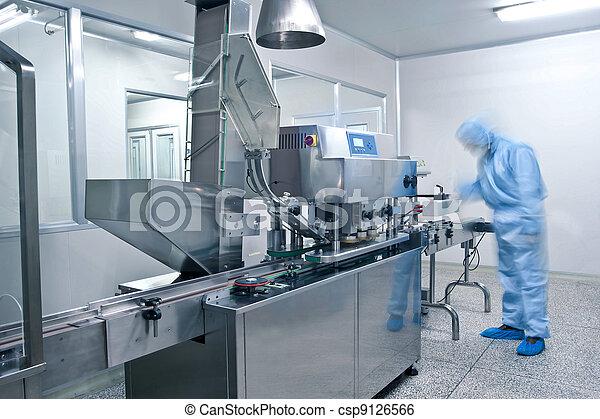 φαρμακευτικός , γραμμή , παραγωγή , τεχνικός , εργαζόμενος  - csp9126566