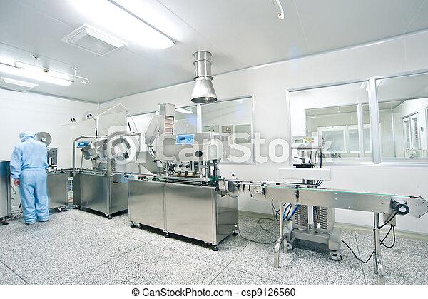 φαρμακευτικός , γραμμή , παραγωγή , τεχνικός , εργαζόμενος  - csp9126560
