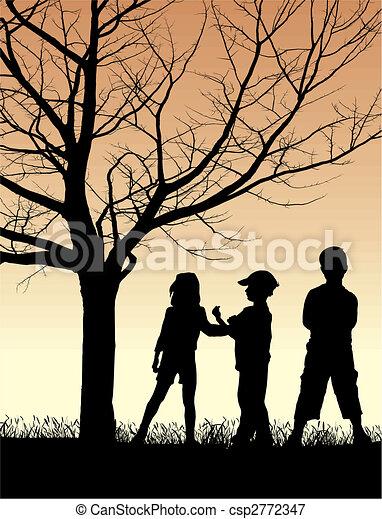 φθινόπωρο , εξοχή , παιδιά  - csp2772347