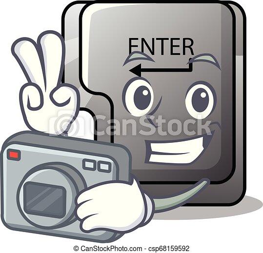 φωτογράφος , κουμπί , απομονωμένος , γελοιογραφία , εισέρχομαι  - csp68159592