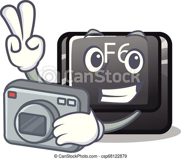 φωτογράφος , κουμπί , σχήμα , f6, γελοιογραφία  - csp68122879
