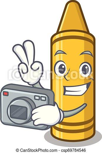 φωτογράφος , μολύβι , γελοιογραφία , κίτρινο , πορτοφόλι  - csp69784546