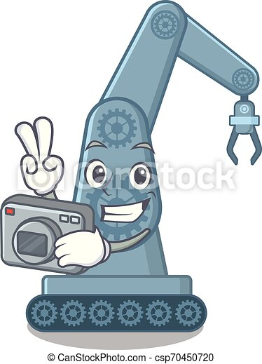 φωτογράφος , ρομπότ , γελοιογραφία , mechatronic, επάνω , τραπέζι , μπράτσο  - csp70450720