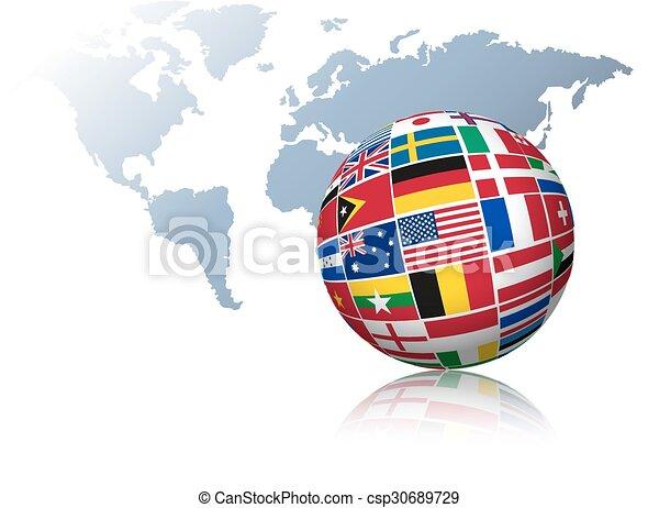 χάρτηs , γινώμενος , σφαίρα , φόντο. , σημαίες , κόσμοs , έξω  - csp30689729