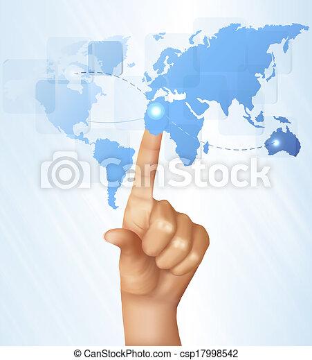 χάρτηs , screen., αφορών , δάκτυλο , vector., άγγιγμα , κόσμοs  - csp17998542