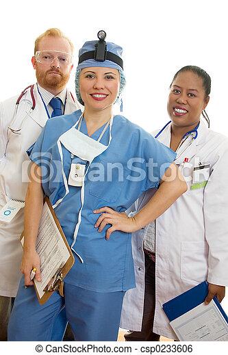χαμογελαστά , ιατρικός εργάζομαι αρμονικά με  - csp0233606