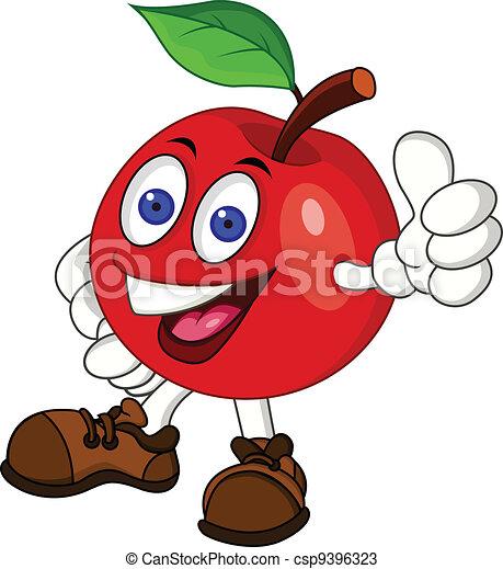 χαρακτήρας , μήλο , κόκκινο , γελοιογραφία  - csp9396323